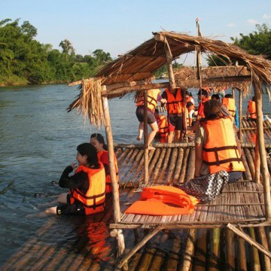 Erawan Waterfalls with Elephant riding and Bamboo rafting (Code 1015)