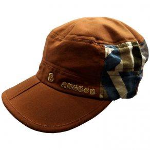 หมวกแก๊ปทรงโกโบริ ผ้าลินินพื้นสีน้ำตาล