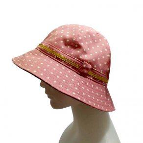 หมวกแฟชั่นสุภาพสตรี สไตล์วินเทจ ลายจุดสีชมพู ติดริบบิ้นสีเหลืองทอง