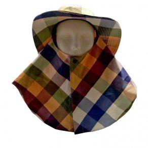 หมวกปิดหน้ามีปีกรอบตัว ลายสก๊อต