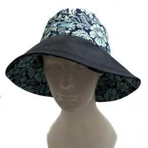 หมวกแฟชั่นสุภาพสตรี สีเขียวลายดอก