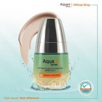 Aqua+ Series Soft Matte Silky Foundation SPF25(รองพื้นสำหรับคนเป็นสิว ปกปิดจุดบกพร่อง ควบคุมความมัน)