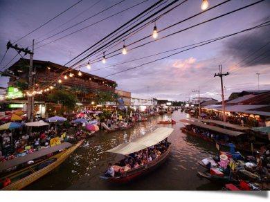 Train umbrellas Market. and Amphawa Floating Market (Code 1011)