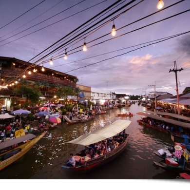 Train umbrellas Market. and Amphawa Floating Market (Code 1011)