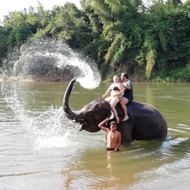 Erawan Waterfalls with elephant riding and elephant bathing (Code 1014)
