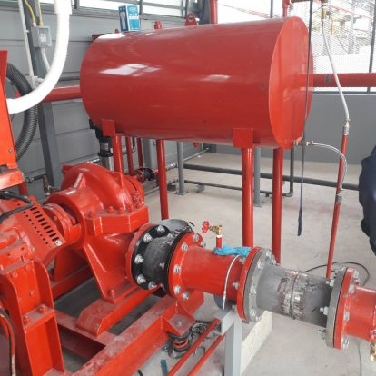 งานติดตั้งระบบสปริงเกอร์ดับเพลิงและ Fire Pump ท่อ Grooved(R. United Folding Co., Ltd หนองคาย)