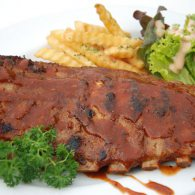 Roasted pork ribs with BBQ sauce