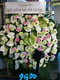 พวงหรีดดอกไม้สด-017