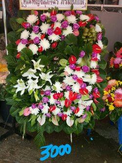 พวงหรีดดอกไม้สด-039