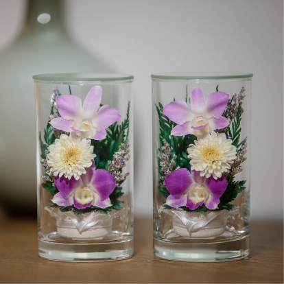 (DMN-213-1219-404) ดอกไม้สดอบในโหลแก้วแบบสไตล์ญี่ปุ่น อยู่ได้นานกว่า5-7ปี JAPAN QUALITY